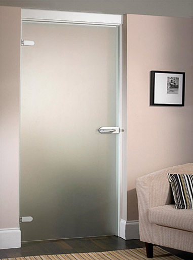 Satin Standard Hinged Single Glass Door
